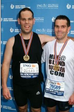 Mike and Gavin at the finish of the New York City Marathon 2007 photo. Click to enlarge