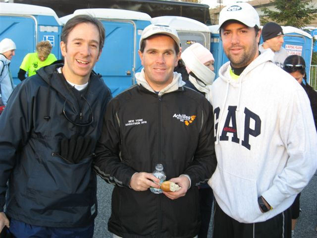 Harris, Mike and Drew before the start of NY Marathon 2010 Photo